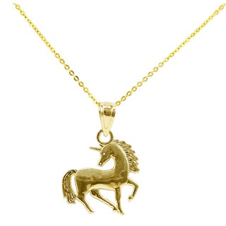 14k Yellow Gold Unicorn Necklace