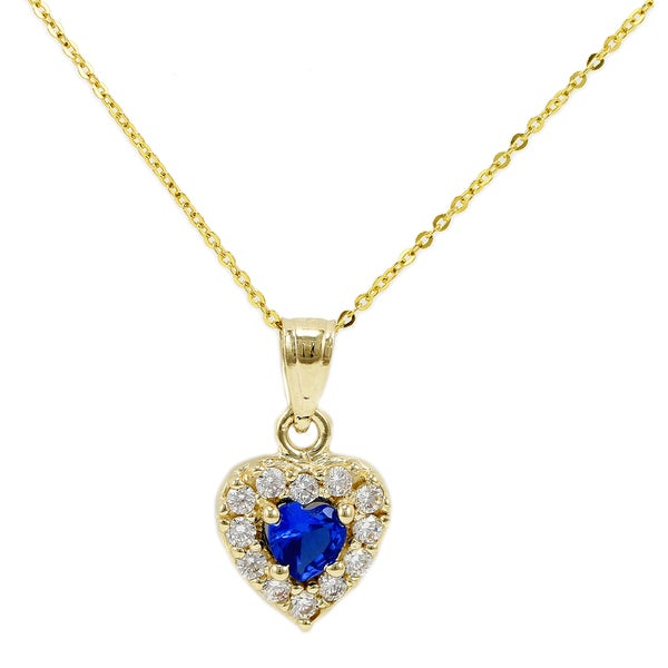 14k Yellow Gold Royal Blue Heart Necklace
