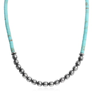 Journee Collection Handmade Turquoise Sterling Silver Bead Necklace