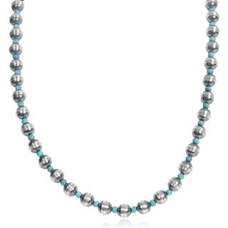 Journee Collection Handmade Sterling Silver Turquoise Bead Necklace