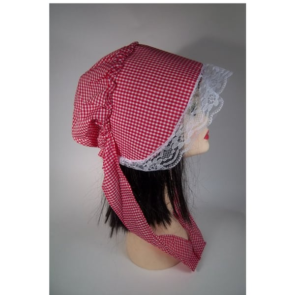 Red White Checkered Bonnet Pioneer Costume Pilgrim Puritan Prairie Accessory