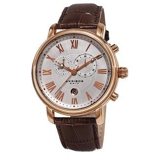 Akribos XXIV Men's Swiss Quartz Chronograph Leather Bracelet Watch