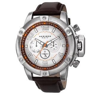 Akribos XXIV Men's Day/Date Decorative Screws Leather Strap Watch