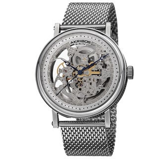 Akribos XXIV Men's Mesh Stainless Steel Automatic Bracelet Watch