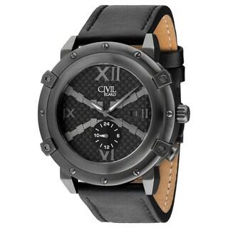 Egard Men's CVL-RDE-GUN Renegade Round Black Leather Strap Watch
