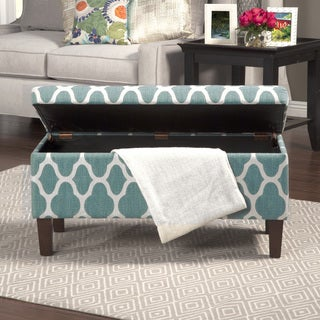 HomePop Large Teal Decorative Storage Ottoman