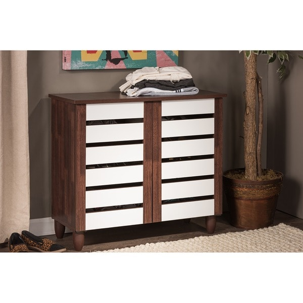 Baxton Studio Sasaki Contemporary Oak and White 2-tone Shoe Cabinet With 2 Doors