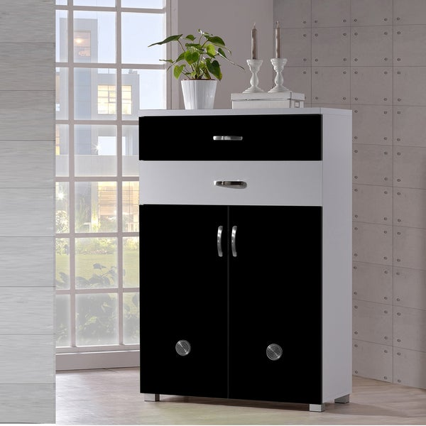 Baxton Studio Sands Contemporary Black White 2-Tone Storage Shoe Cabinet With 2 Doors And 2 Drawers