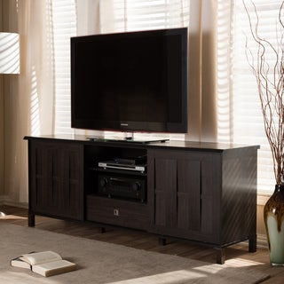 Baxton Studio Tapp Contemporary 70-Inch Dark Brown Wood TV Cabinet with 2 Sliding Doors and 1 Drawer