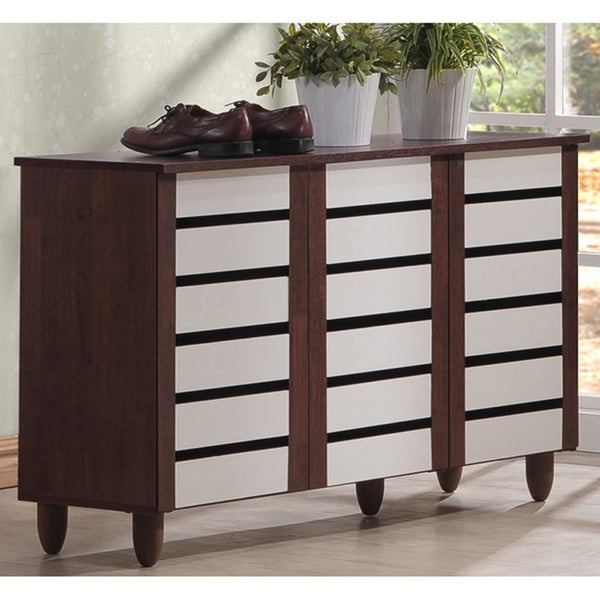 Baxton Studio Sasaki Contemporary Oak and White 2-tone Shoe Cabinet With 3 Doors