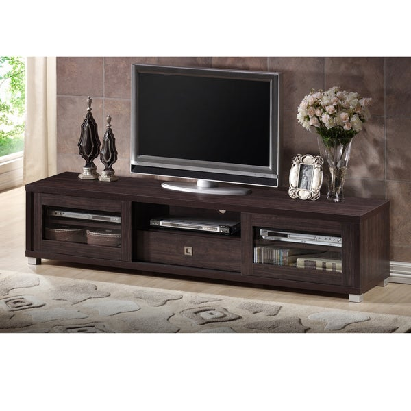 Baxton Studio Tooms Contemporary 70-Inch Dark Brown TV Cabinet with 2 Sliding Doors and 1 Drawer ...