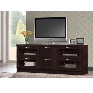 Baxton Studio Tippett 63 Inches Dark Brown Wood TV Cabinet with 4 Glass Doors and 2 Drawers