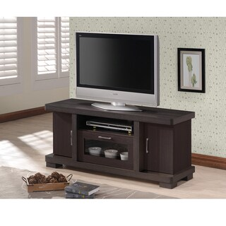 Baxton Studio Vader Contemporary 47-Inch Dark Brown Wood TV Cabinet with 2 Doors