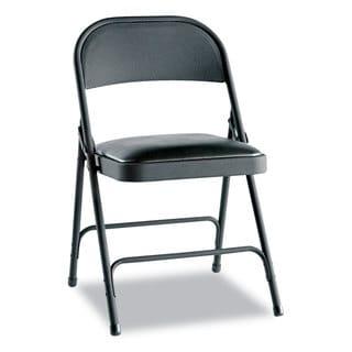 Alera Graphite Steel Folding Chair w/Padded Seat (Set of 4)