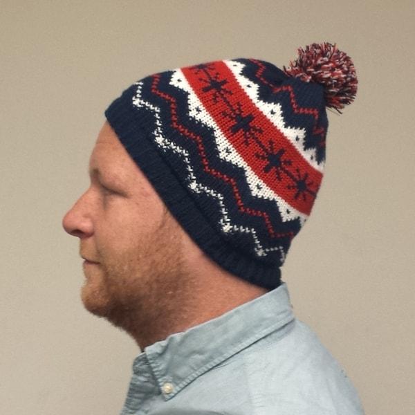 Kevin Mccallister Home Alone 2 Knit Hat Beanie Macaulay Culkin Movie Snowflakes