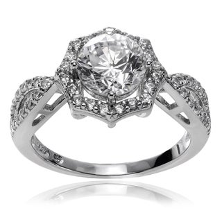 Journee Collection Rhodium-plated Sterling Silver CZ Halo Engagement Ring
