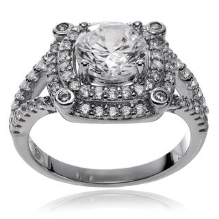 Journee Collection Rhodium-plated Sterling Silver CZ Engagement Ring