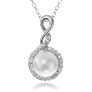 Journee Collection Rhodium-plated Sterling Silver CZ Accent Pearl Pendant