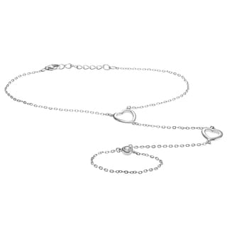 Journee Collection Sterling Silver CZ Accent Heart Hand Harness Bracelet