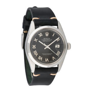 Pre-owned Rolex Mens Stainless Steel Leather Datejust Black Roman Dial Watch