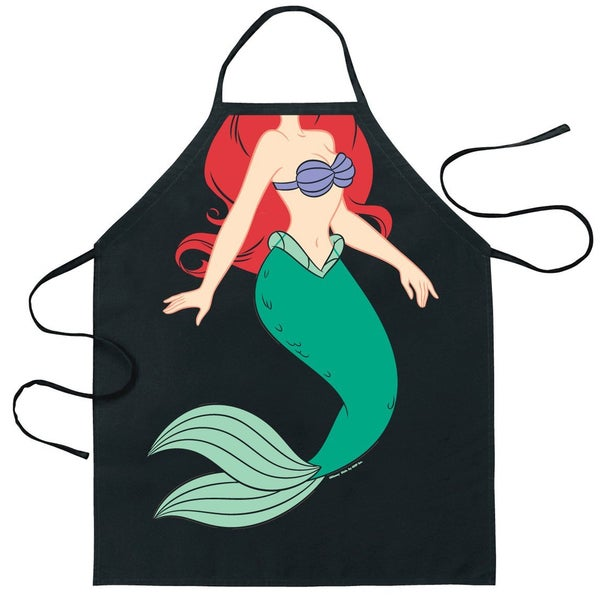 Ariel The Little Mermaid Apron Disney Character Cook Costume Chef Bbq Black