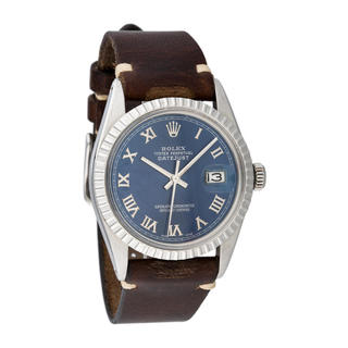 Pre-owned Rolex Men's Quickset Leather Datejust Blue Roman Dial Watch