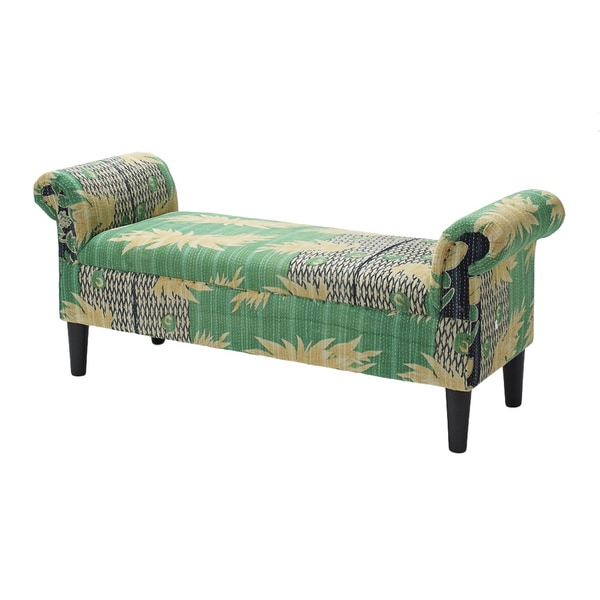Green Floral Roll Arm Bench