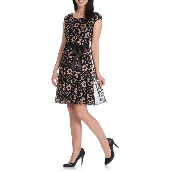 S.L. Fashions Women's Novelty Lace Ribbon Tie Dress