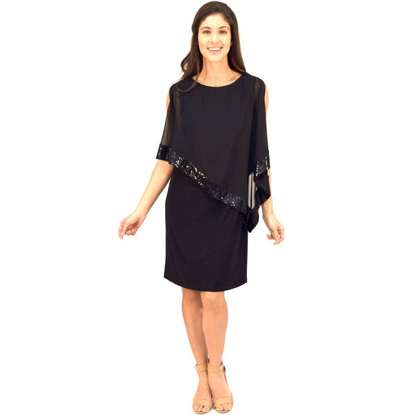 R&M Richards Overlay Sequin Dress