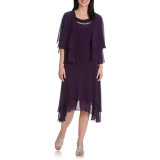 S.L. Fashions Women's Sharkbite Hem Chiffon Dress w/Jacket
