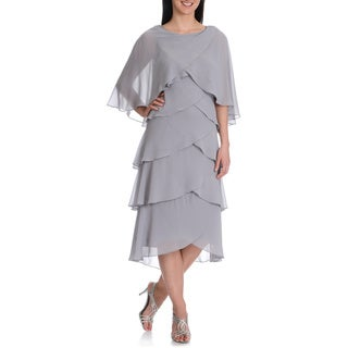 S.L. Fashions Women's Multi Tiered Dress w/Capelet
