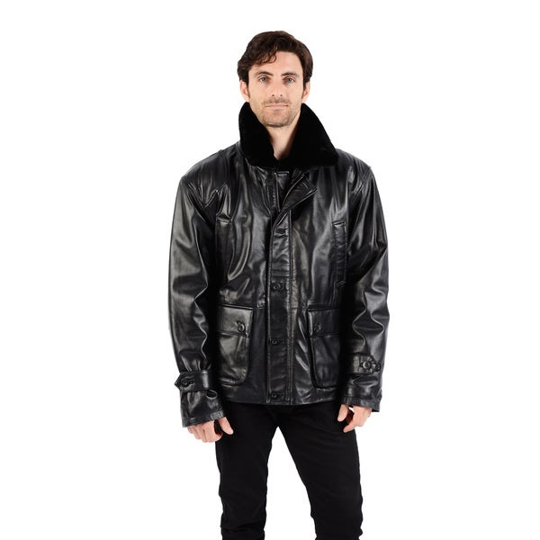 Excelled Men's Leather Car Coat with Faux Fur Collar