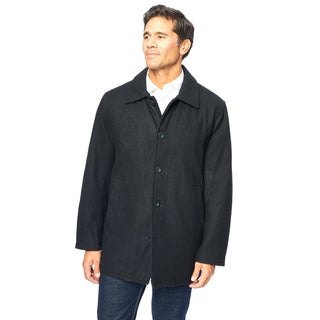 Excelled Mens Wool Melton Button Front Car Coat
