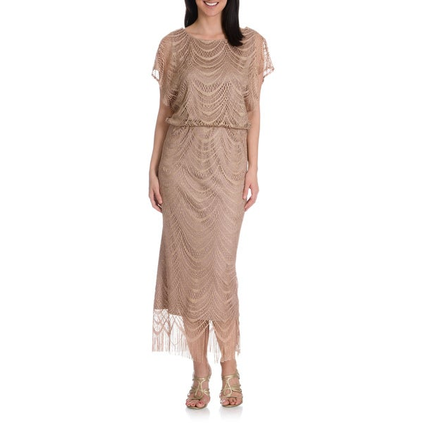 S.L. Fashions Women's Metallic Crochet & Fringe Blouson Dress