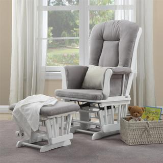 Baby Relax Simone White Glider and Ottoman Combo