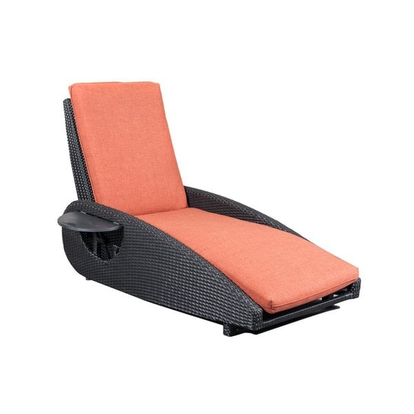 COBANA All Weather Resin Rattan Wicker Chaise Lounge Chair with Adjusting Knob and Folding Tray with a Furniture Cover