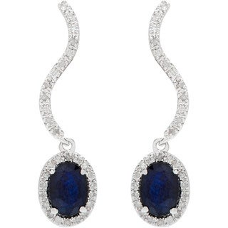 Viducci 10k White Gold Oval Gemstone 1/3ct TDW Diamond Earrings (G-H, I1-I2)