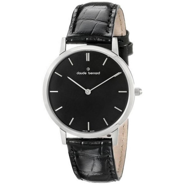 Claude Bernard Men's 20061 3 NIN Classic Black Dial Black Leather Strap Watch