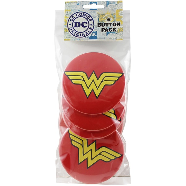 Large Button Pack 3in 6/Pkg Wonder Woman Logo