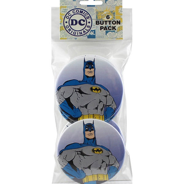 Large Button Pack 3in 6/Pkg Batman Close Up