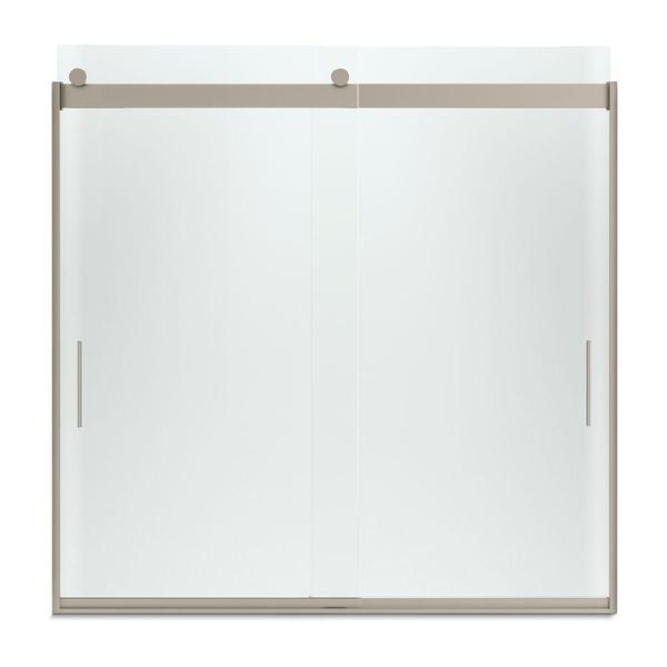 Levity 59-5/8 inches W x 59-3/4 inches H Frameless Bypass Tub/Shower Door with Handle