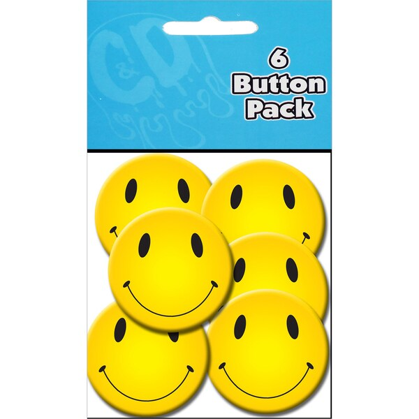 Button Party Pack 1.25in 6/Pkg Smiley