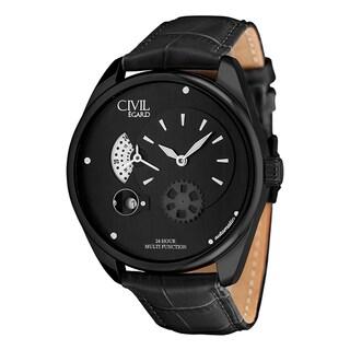 Egard Men's CVL-VNT-BLK Vantage Round Black Leather Strap Watch