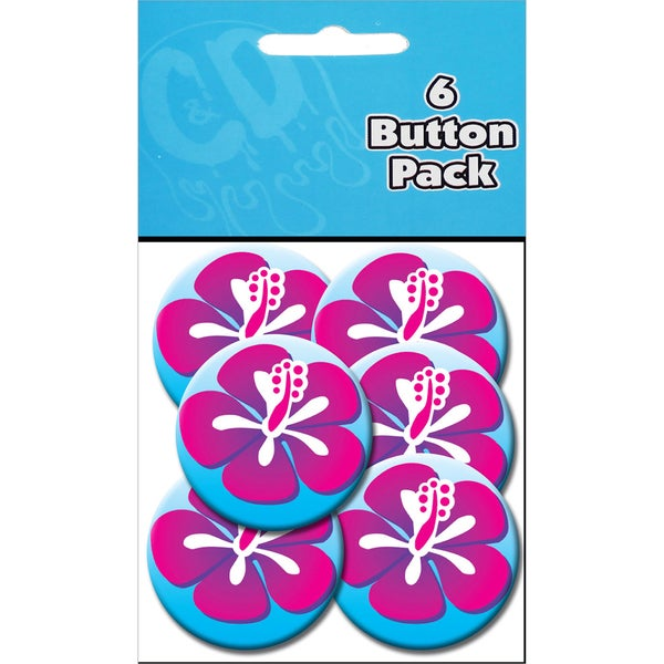 Button Party Pack 1.25in 6/Pkg Hibiscus Pink & Blue