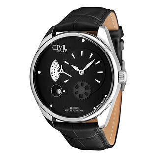 Egard Men's CVL-VNT-STL Vantage Round Black Leather Strap Watch