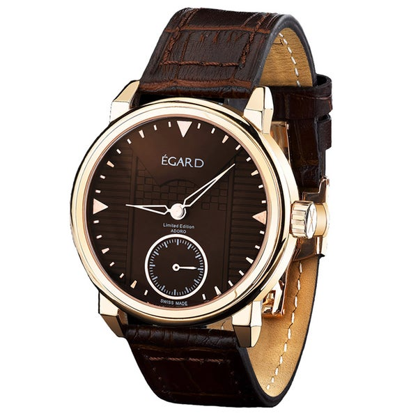 Egard Men's GRD-ADO-ROS Adoro Limited Edition Round Brown Leather Strap Watch