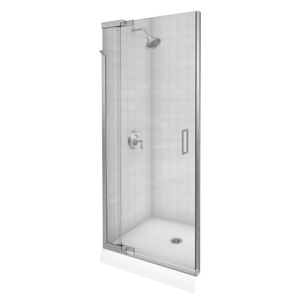 Purist 36 inches x 72 inches Frameless Pivot Shower Door in Vibrant Brushed Nickel with Frosted Glass