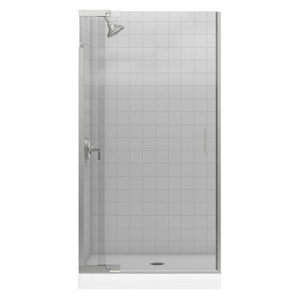 Purist 39 inches x 72 inches Frameless Pivot Shower Door with Clear Glass