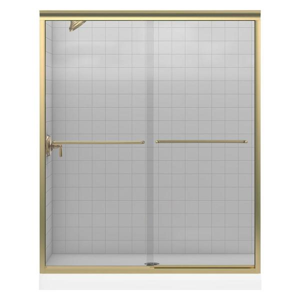 Fluence 59-5/8 inches x 55-3/4 inches Frameless Bypass Shower Door with Crystal Clear Glass