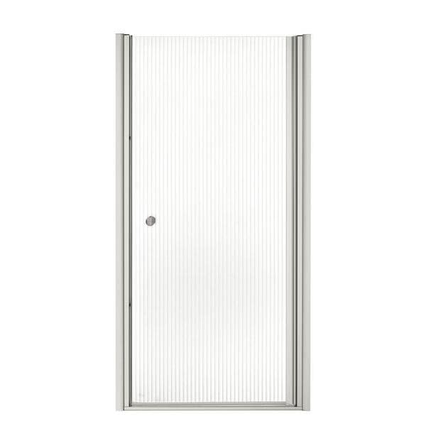 Fluence 34 inches x 65-1/2 inches Frameless Pivot Shower Door with Falling Lines Glass